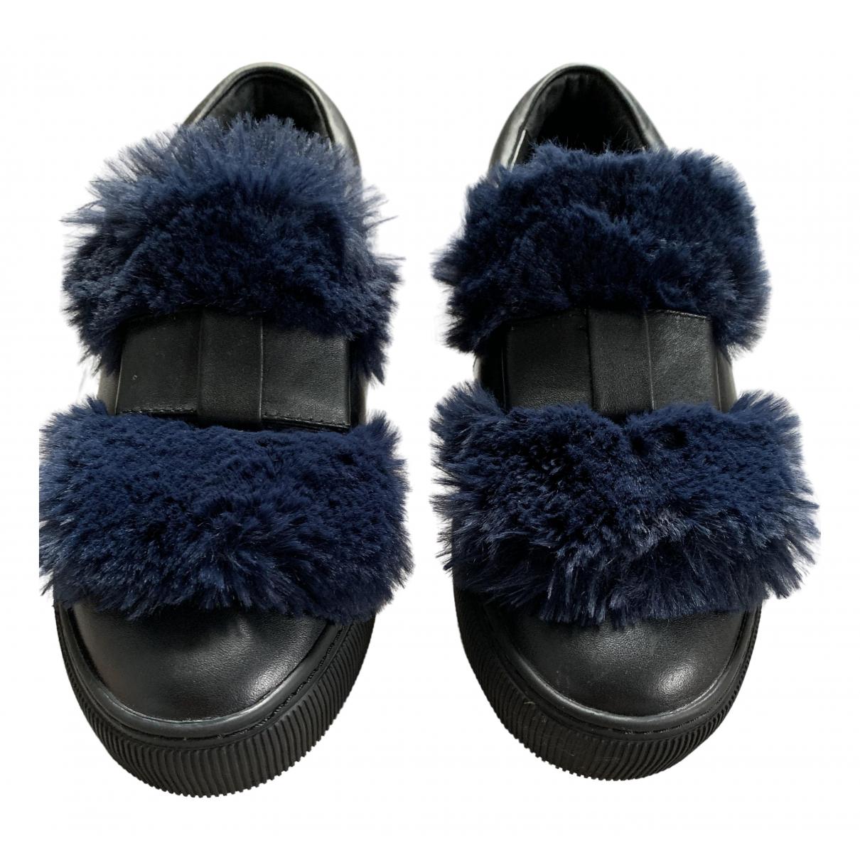 Karl Lagerfeld - Baskets   pour femme en cuir - noir