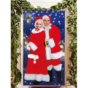 Christmas Banner Taking Photo Foreground Door Decor