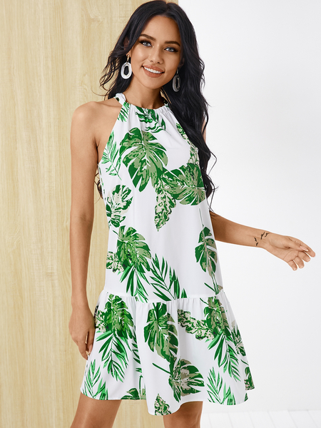 YOINS Tropical Knotted Halter Sleeveless Dress