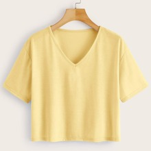 Plus V-neck Short Sleeve Solid Tee