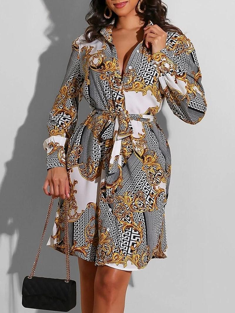 Ericdress Long Sleeve Lapel Print Casual A-Line Dress