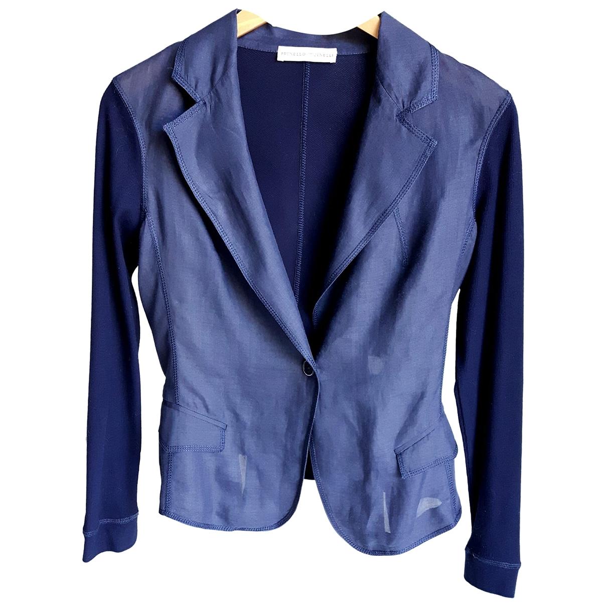 Brunello Cucinelli - Veste   pour femme en coton - bleu
