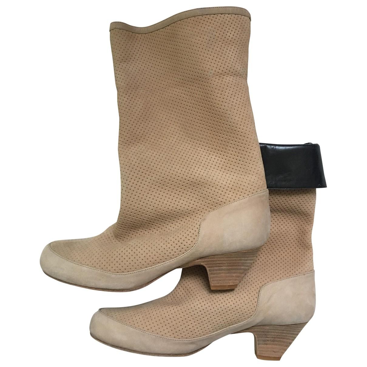 Karine Arabian \N Beige Suede Ankle boots for Women 38 EU