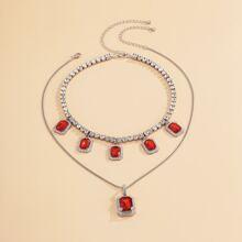 2pcs Gemstone Pendant Necklace