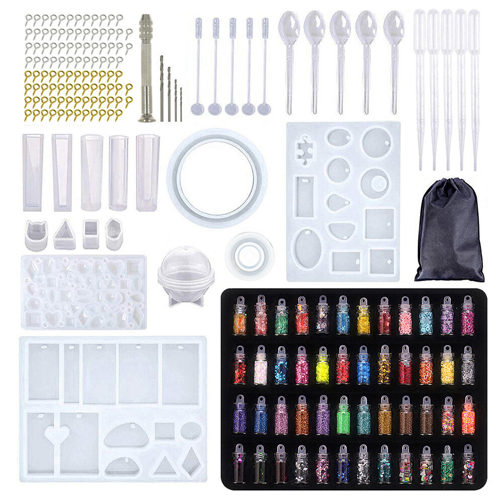 148/160/184Pcs Silicone Casting Resin Molds And Tools Set For Resin Jewelry DIY Resin Pendant Bracelet Silicone Casting