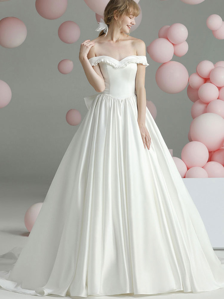 Milanoo Vintage Wedding Dresses Chapel Train Sweetheart Neck Sleeveless Ruffles Satin Fabric Bridal Gowns