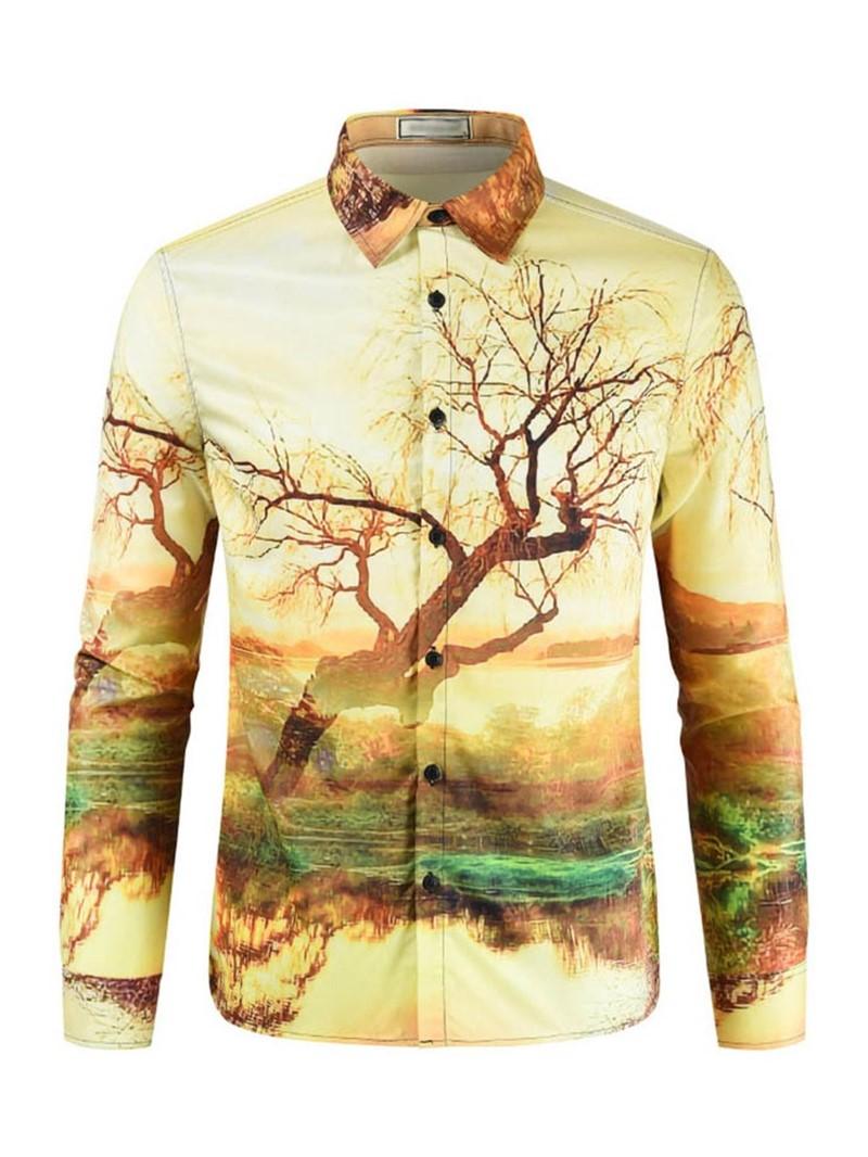 Ericdress Lapel Casual Print Slim Mens Spring Shirt