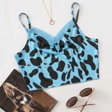 Cow Print Contrast Lace Crop Cami Top