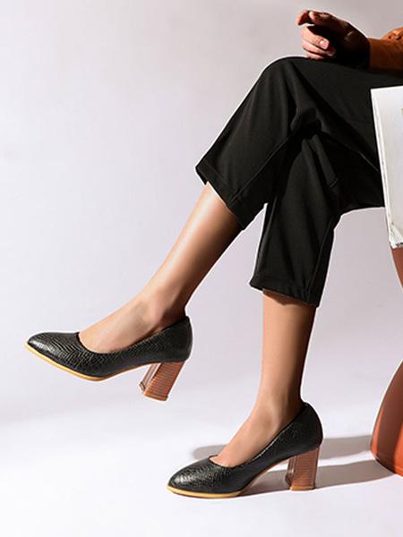 Milanoo Zapatos de tacon medio-bajo para mujer Bombas rojas sin cordones con punta puntiaguda Zapatos de tacon alto sin cordones