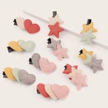 Horquilla de niñas con diseño de corazon y estrella 10 piezas