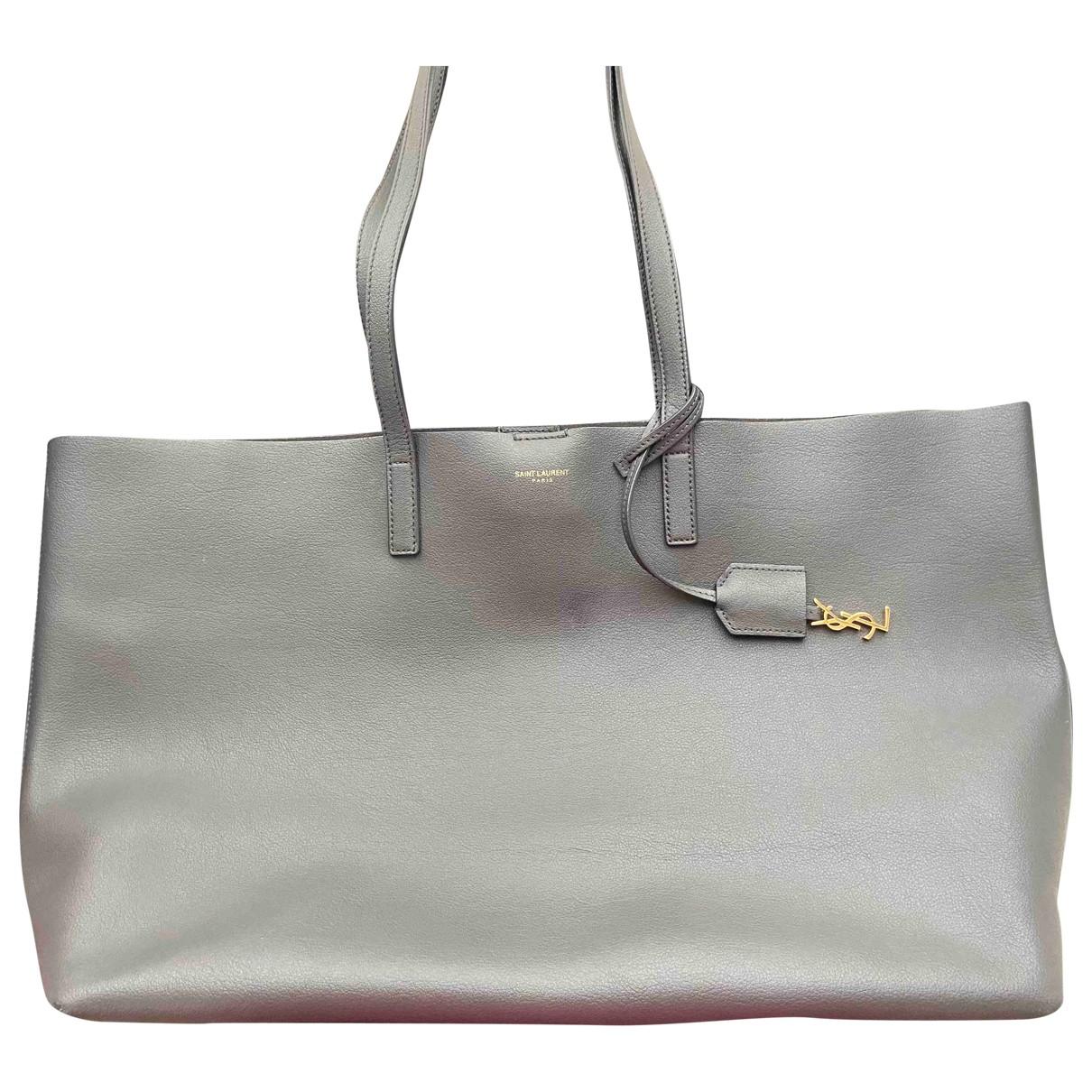 Saint Laurent Shopping Handtasche in  Grau Leder