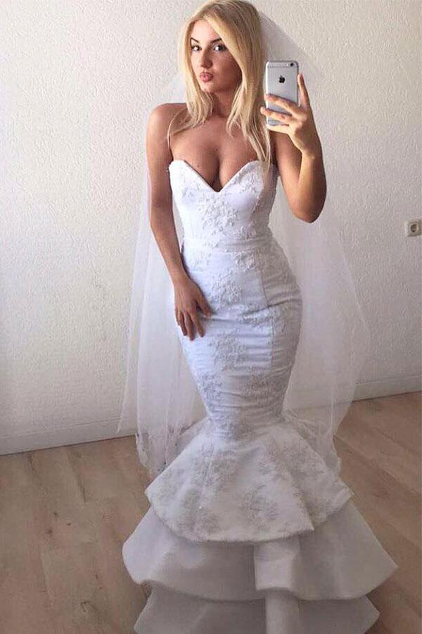 Sexy cherie blanc dentelle appliques sirene volants longue robe de mariee