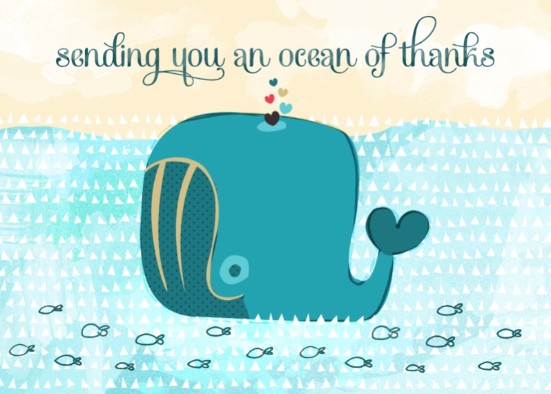 Thank You Cards 5x7 Cards, Standard Cardstock 85lb, Card & Stationery -Whale Thank You