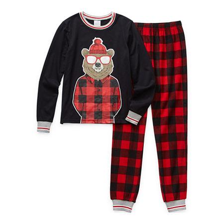 Peace Love And Dreams Little & Big Boys 2-pc. Pajama Set, X-large , Black