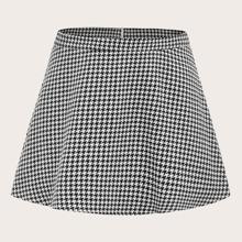 Tweed Rock mit Hahnentritt Muster und Reissverschluss hinten