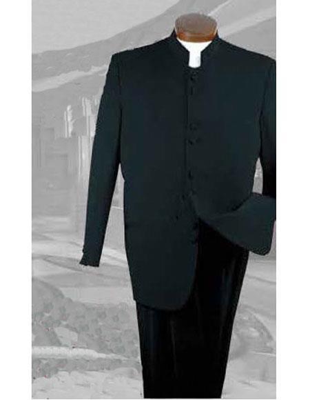 Mens Button Closure Poly Gabardine Pleated Pants Black 2 Piece Suit
