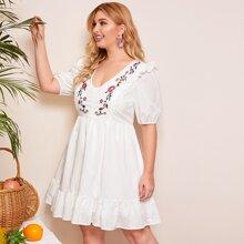 Kleid mit Raffung Detail, Stickereien und Blumen Muster