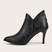 Plaid Embossed Stiletto Heeled Boots