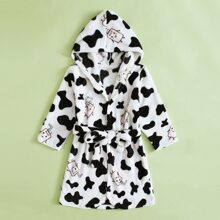 Toddler Boys Cow & Cartoon Graphic Belted Hooded Flannel Robe