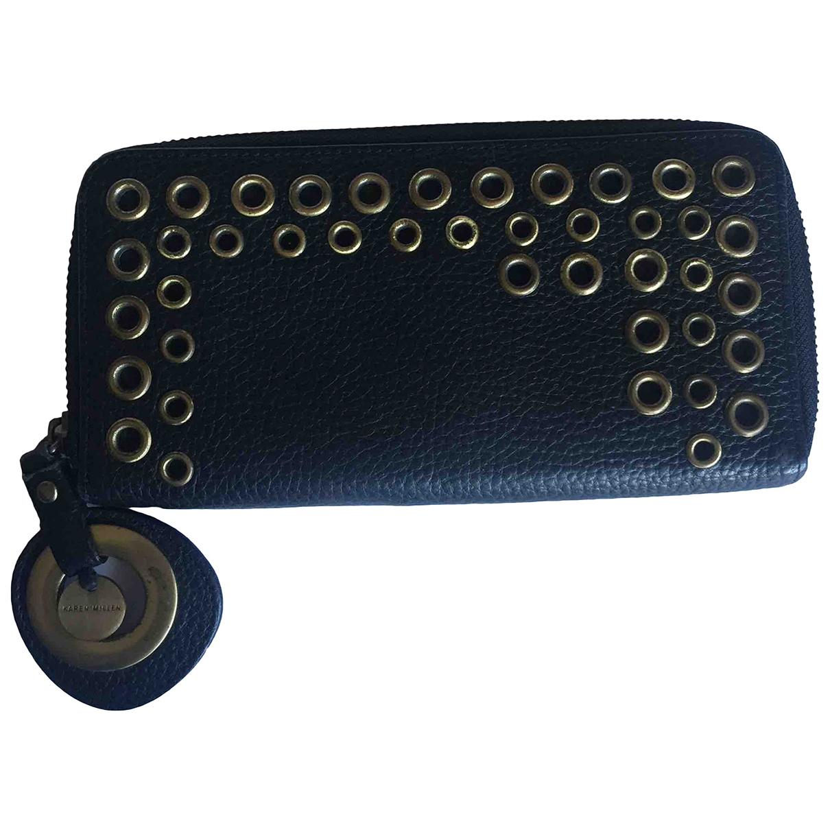 Karen Millen - Portefeuille   pour femme en cuir - noir