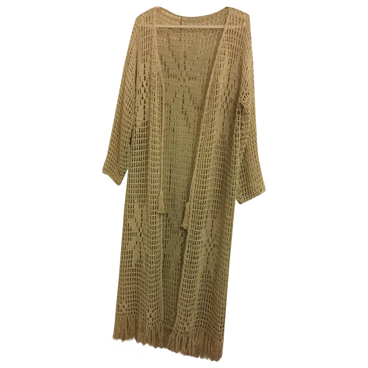 Non Signé / Unsigned Hippie Chic Ecru Cotton Knitwear for Women M International