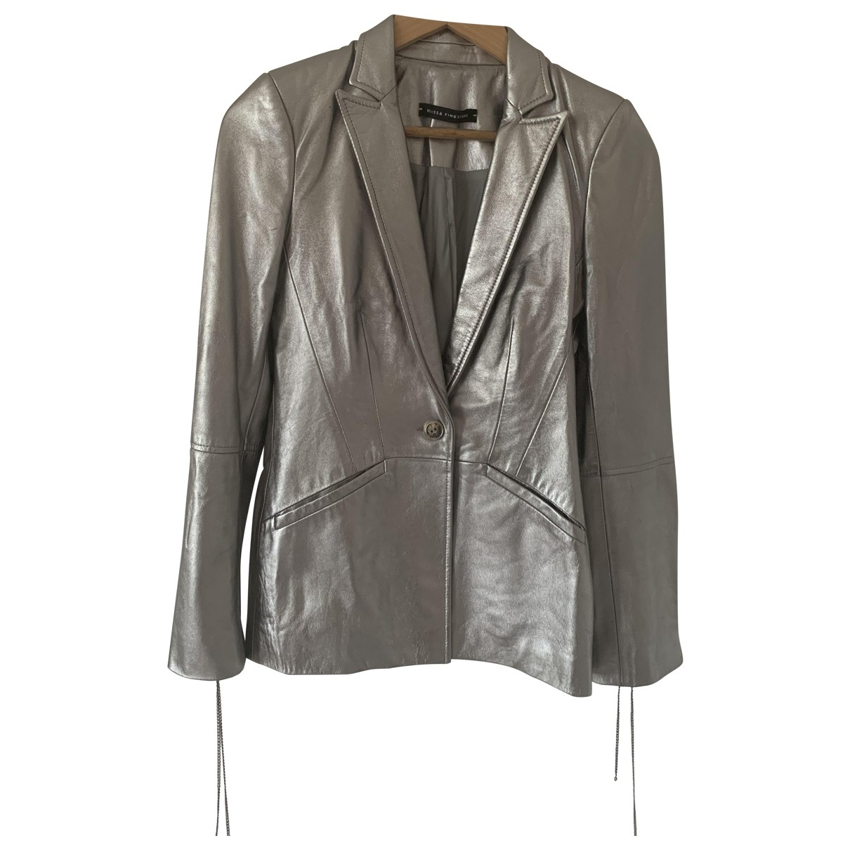 Non Signé / Unsigned \N Silver Leather jacket for Women 8 UK