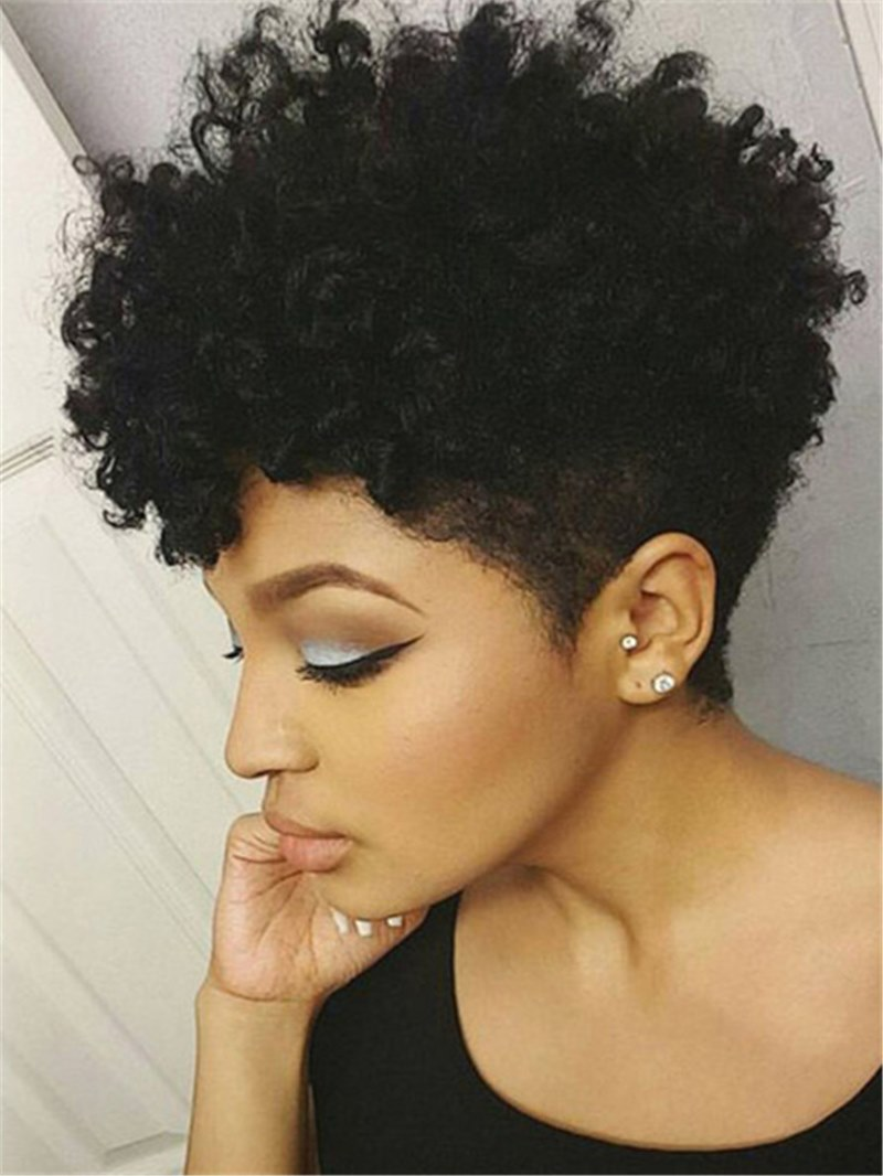 Ericdress African American Short Afro Curly Human Hair Full Lace Wig 6 Inches