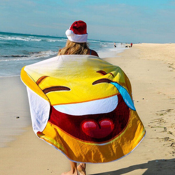 145x145cm Smiling Face Beach Yoga Towel Round Tapestry Bed Sheet Sunscreen Shawl