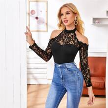 Halterneck Cut-out Sheer Lace Yoke Top