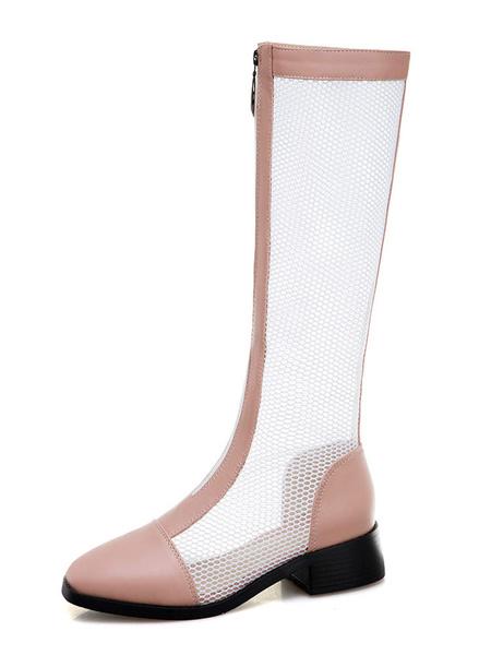 Milanoo Women\'s Summer Boots Square Toe Mesh Low Block Heel Kneee-high Boots