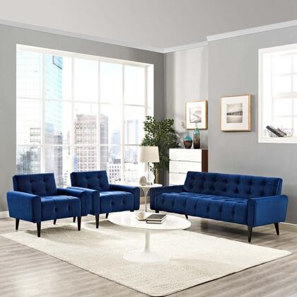 Delve Collection EEI-2970-NAV-SET 3 PC Living Room Set with Dense Foam Padding  Curved Armrests  Non-Marking Wood Tapered Legs and Stain-Resistant