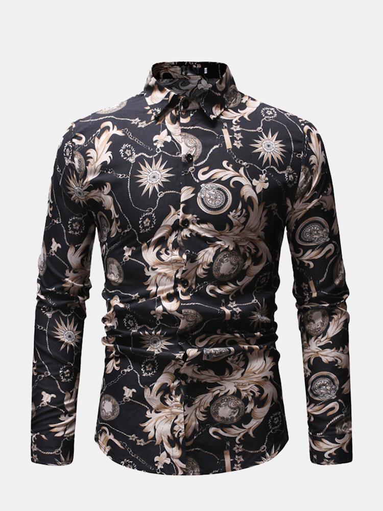 Mens Business Casual Breathable Print Cotton Button Down Slim Shirt