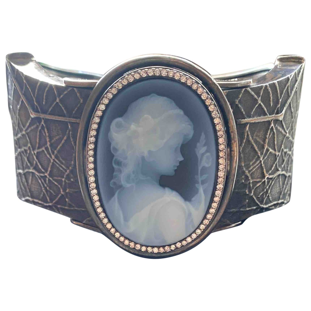 Non Signe / Unsigned Camee Armband in  Blau Silber