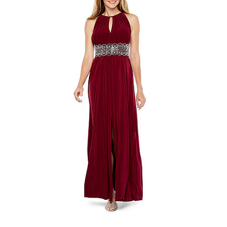 R & M Richards Sleeveless Embellished Halter Evening Gown, 12 , Red