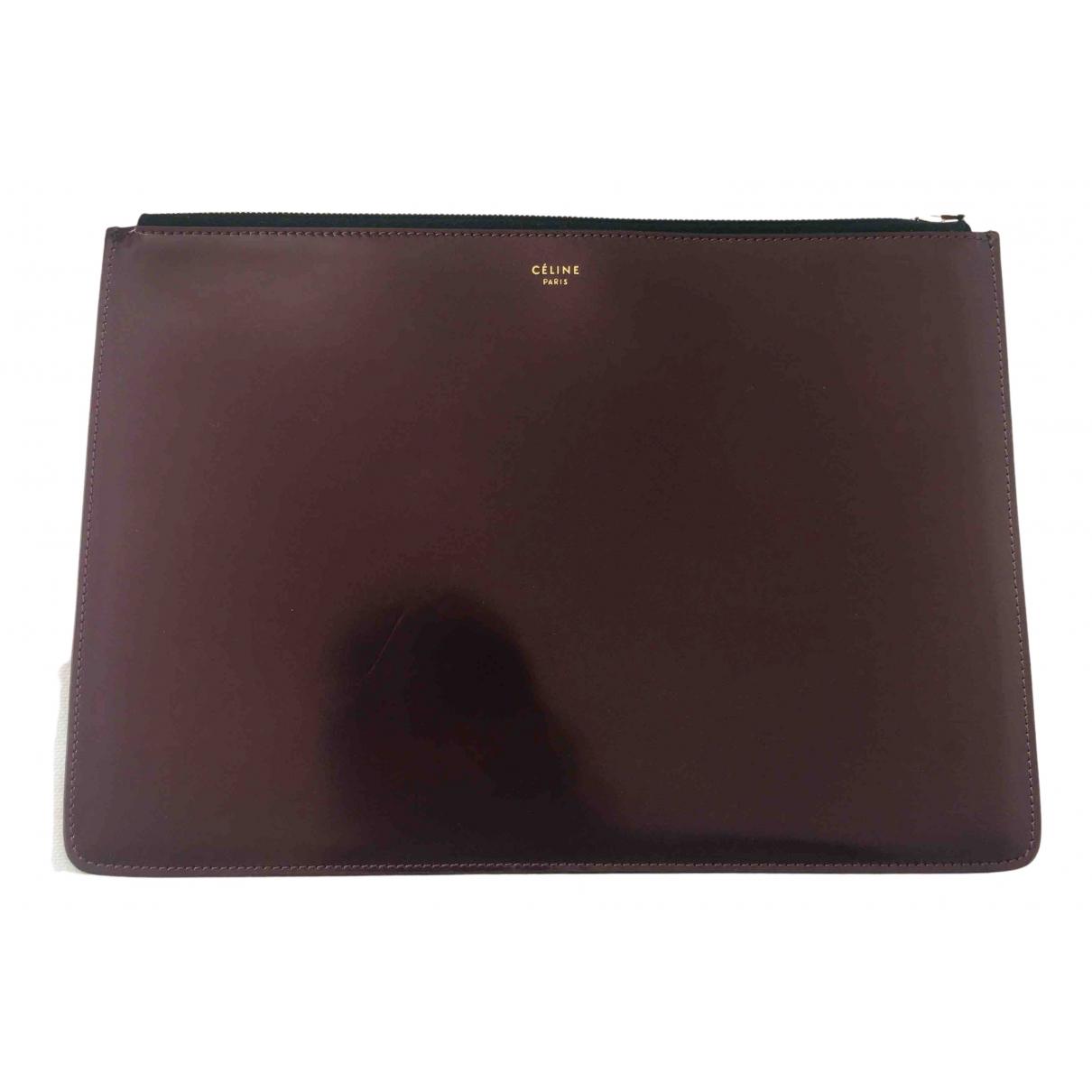 Celine N Burgundy Leather Clutch bag for Women N