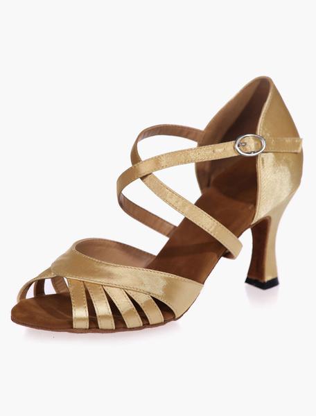 Milanoo Ankle Strap Black Satin Ballroom Shoes