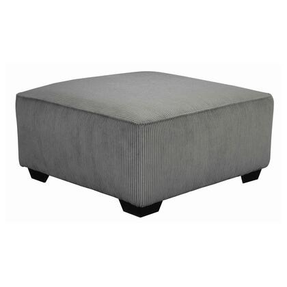 BM206179 Wooden Oversized Accent Ottoman with Ribbed Pattern  Gray and