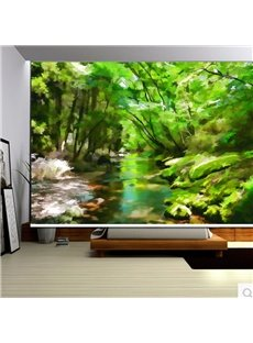 3D Green Trees Printed Abstract Style Decoration and Blackout Polyester Curtain Roller Shade