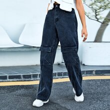 Flap Pocket Front Straight Leg Jeans