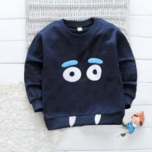 Toddler Boys Cartoon Graphic Patched Sweatshirt