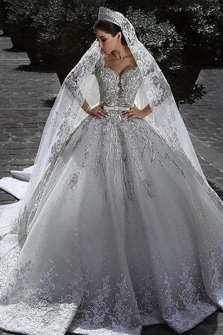 Ericdress Long Sleeves Appliques Ball Gown Wedding Dress