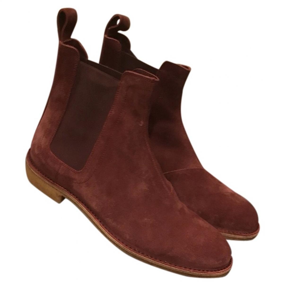 Bottega Veneta \N Burgundy Suede Boots for Men 43 EU