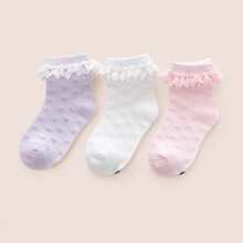 3 Paare Kleinkind Maedchen Socken mit Spitzenbesatz
