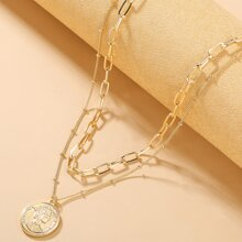 Mehrschichtige Halskette mit Muenze Anhaenger