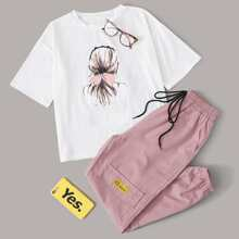 Figure Graphic Tee With Drawstring Pocket Detail Cargo Pants