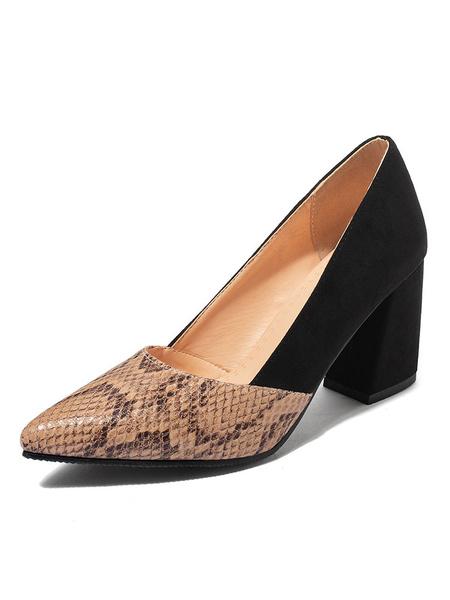 Milanoo Tacones altos para mujer Zapatos de tacon grueso con punta puntiaguda Zapatos de talla grande