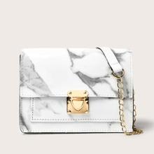 Marble Pattern Push Lock Flap Crossbody Bag