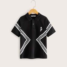 Jungen Polo Shirt mit Streifen & Blitze Muster