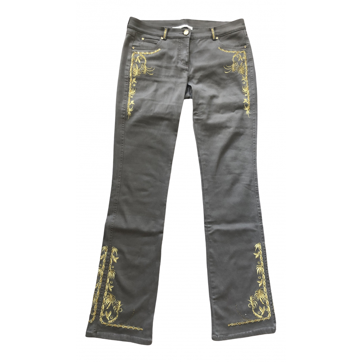 Roberto Cavalli \N Brown Cotton Trousers for Women 44 IT
