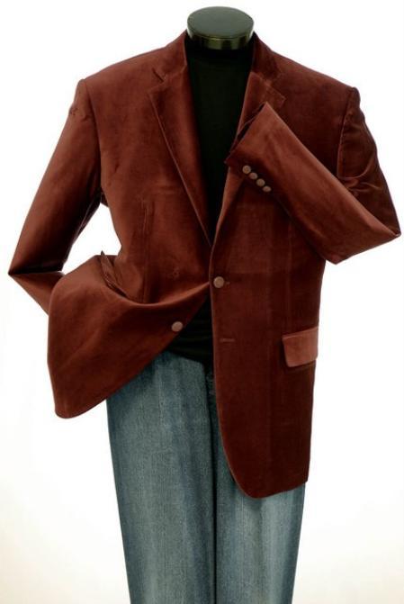 2 Button Mens Brown Velvet Blazer